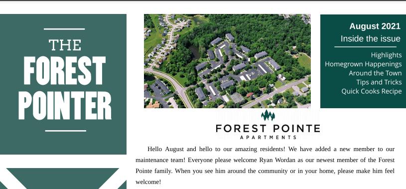 Forest Pointe newsletter