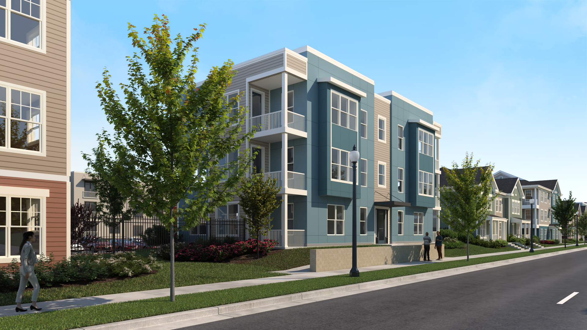 Digital rendering of street view with three story apartment building-Preservation Square