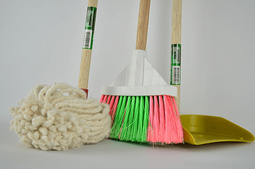 mops, brooms, dust pans