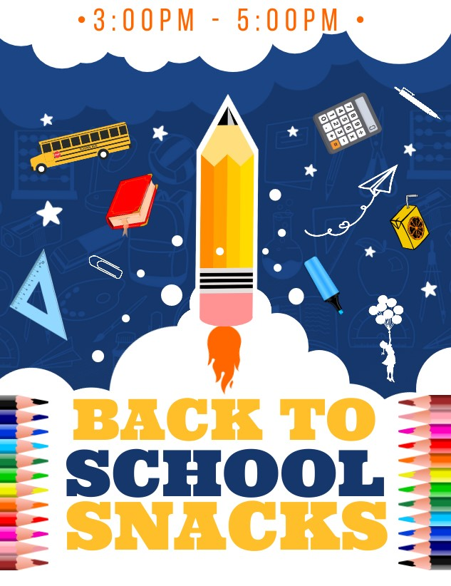 After School Snacks on Friday, Aug. 13th!