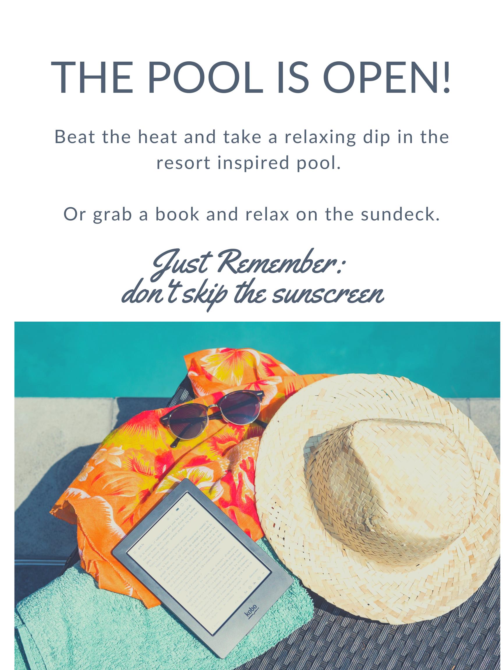 pool flyer for resort inspired pool at Villas at Stone Oak Ranch Austin, TX