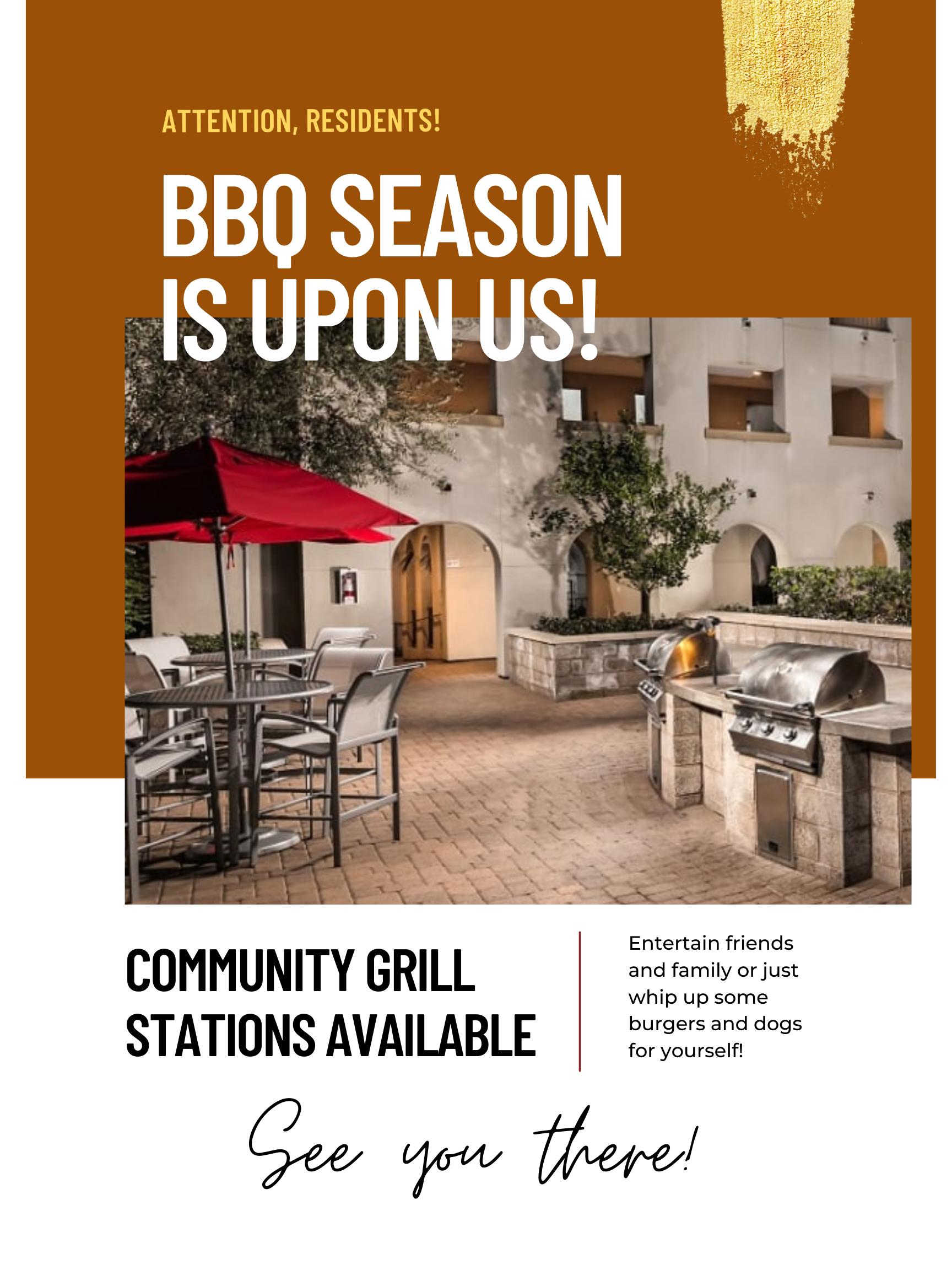 bbq season flyer for residents at Trio apartments Pasadena, CA