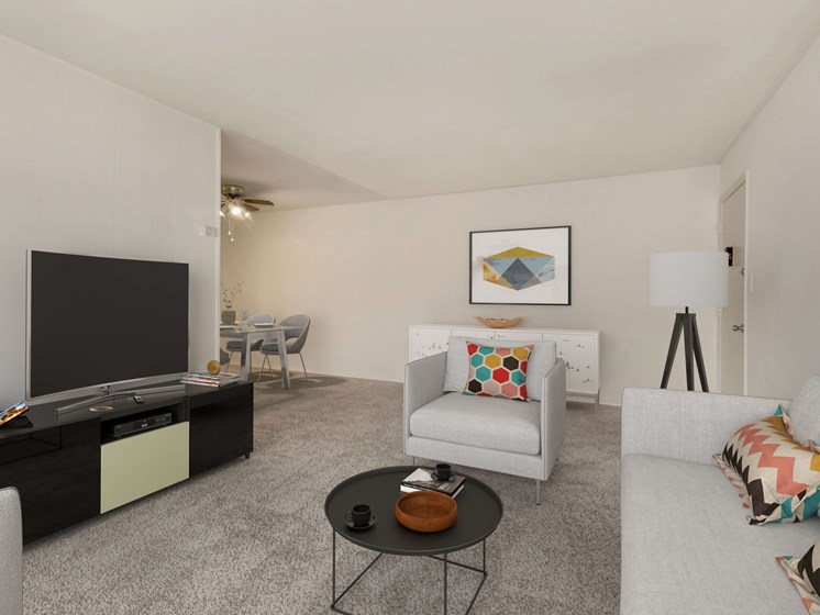 Furnished living room with TV, couch and chair