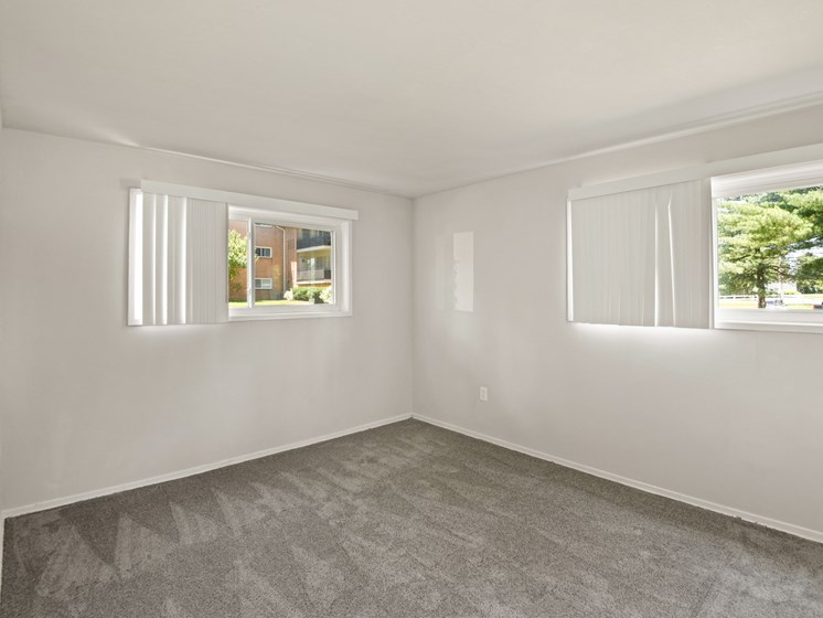 Large bedroom with multiple windows