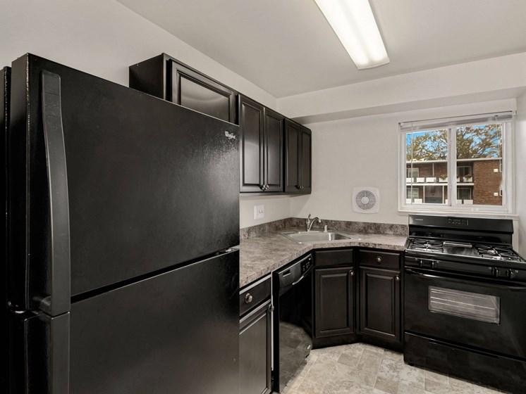 Kitchen with brand new, black appliances