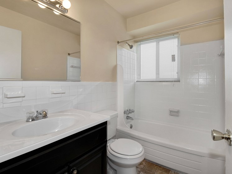 Bathroom with vanity, toilet and shower with window