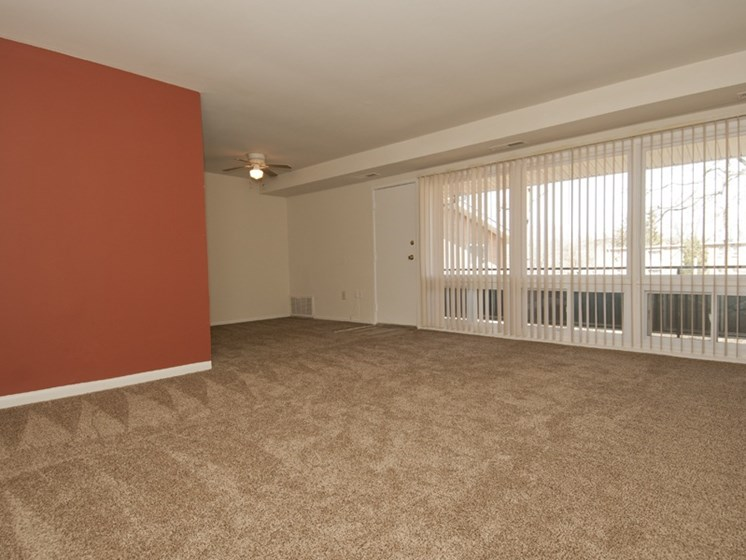 Living room with and large triple window