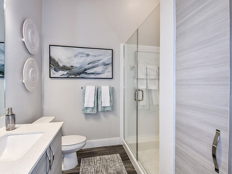 Walk-In Showers With Built-In Bench And Glass Enclosure at Axio at Carillon, Saint Petersburg, 33716