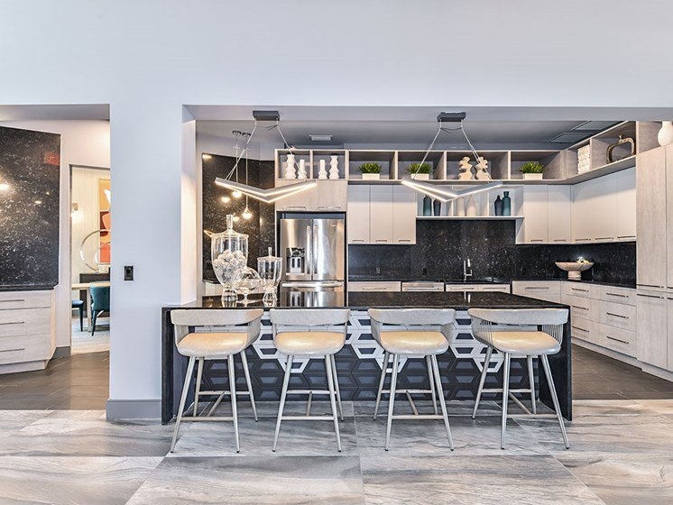 Eat-In Table With High Chairs In Clubhouse at Axio at Carillon, Florida