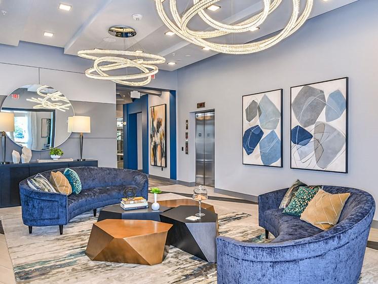 Lobby Lounge With Elevator at Axio at Carillon, Saint Petersburg, FL, 33716