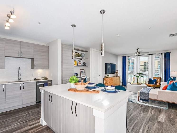 Kitchen With Living Area View at Axio at Carillon, Saint Petersburg, FL
