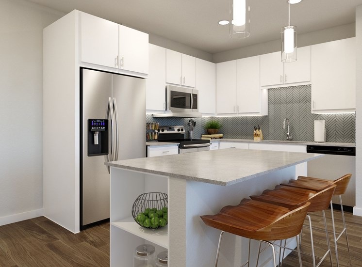 Gourmet Kitchen With Island at 26 at City Point Apartments, The Spanos Corporation, North Richland Hills, 76180