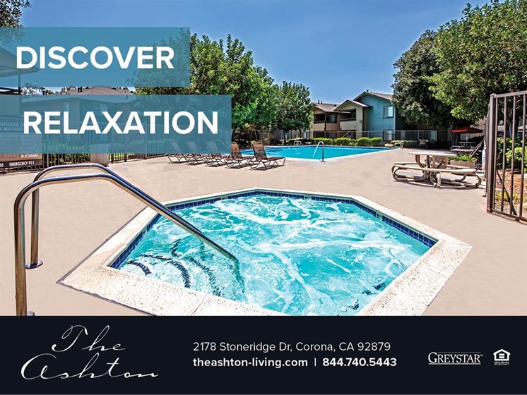 Outdoor Heated Saltwater Pool With Hot Tub Open Year-Round at The Ashton, Corona, California