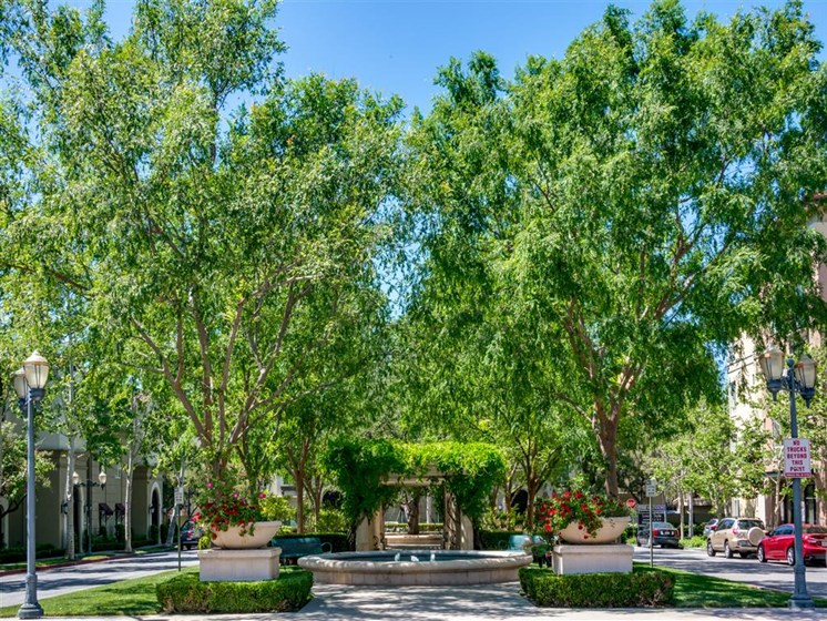 Beautiful Garden with Fountain at The Madison at Town Center, California