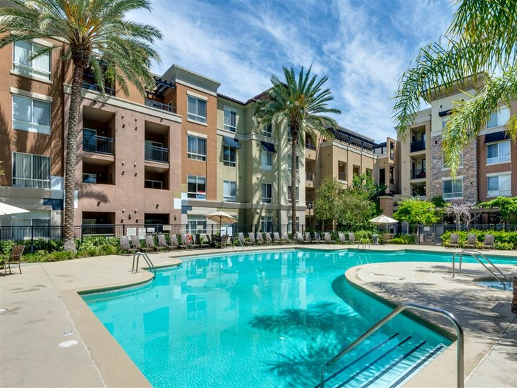 Pool Side Relaxing Area at The Madison at Town Center, Valencia, CA, 91355
