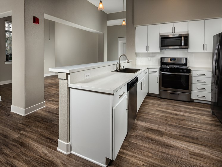 White Cabinetry in Kitchen at The Madison at Town Center, Valencia, CA, 91355