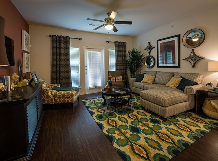 Living Room With Expansive Window at Allora Bella Terra, Texas, 77406