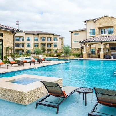 Poolside Sundeck With Relaxing Chairs at Allora Bella Terra, Richmond, Texas