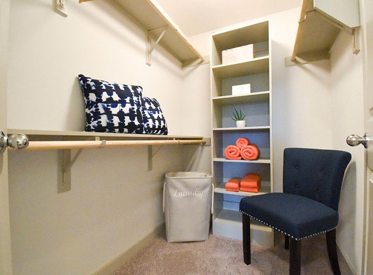 Interior model walk in closet with shelving