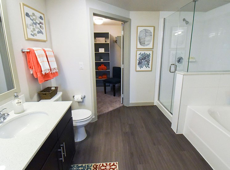 Bathroom model with garden tub, stand in shower, and connecting walk in closet