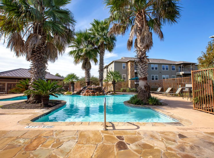 poolside palm trees