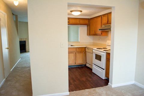 Kitchen and hallway at Laurel Grove Apartment Homes, Orange Park, FL, 32073
