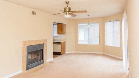 Living room with ceiling fan at Laurel Grove Apartment Homes, Orange Park, FL