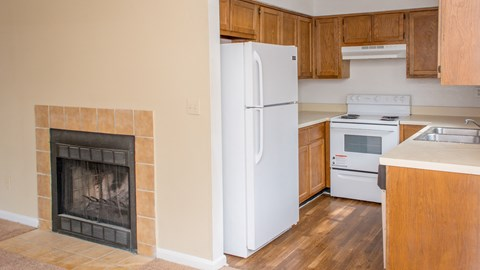 Kitchen with living room at Laurel Grove Apartment Homes, Orange Park, 32073