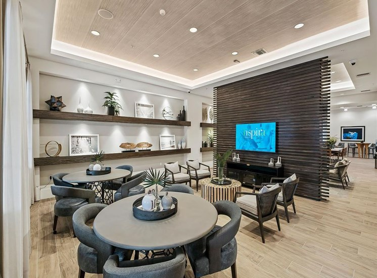 Game and card tables in resident lounge at Inspira, Naples, FL, 34113