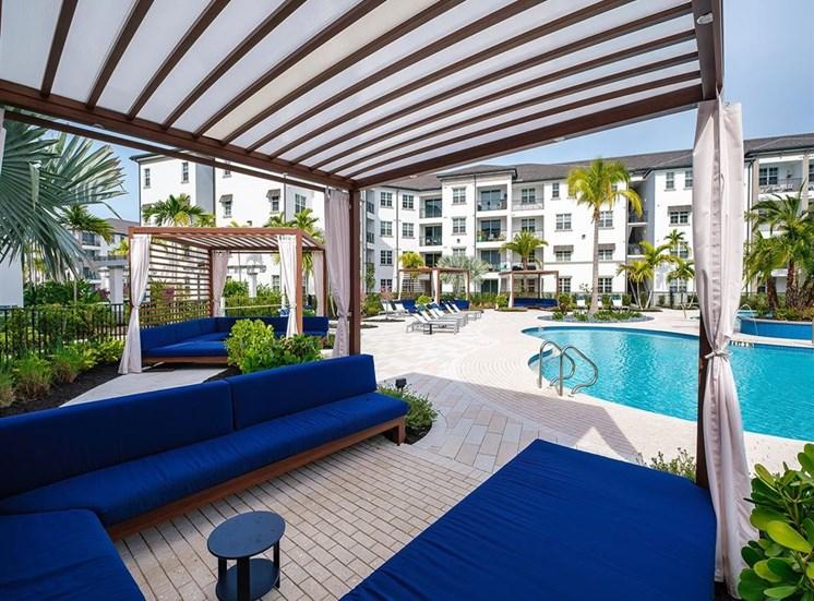 Cabana seating at the pool at Inspira, Florida