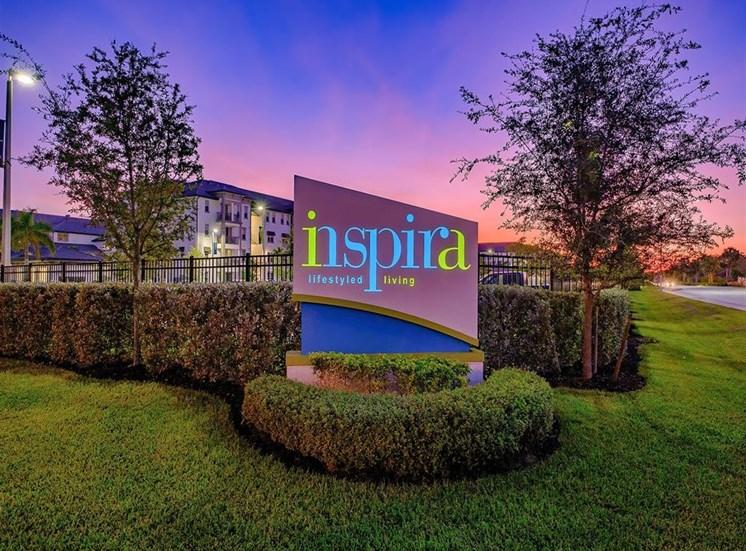 Sign at twilight at Inspira, Florida