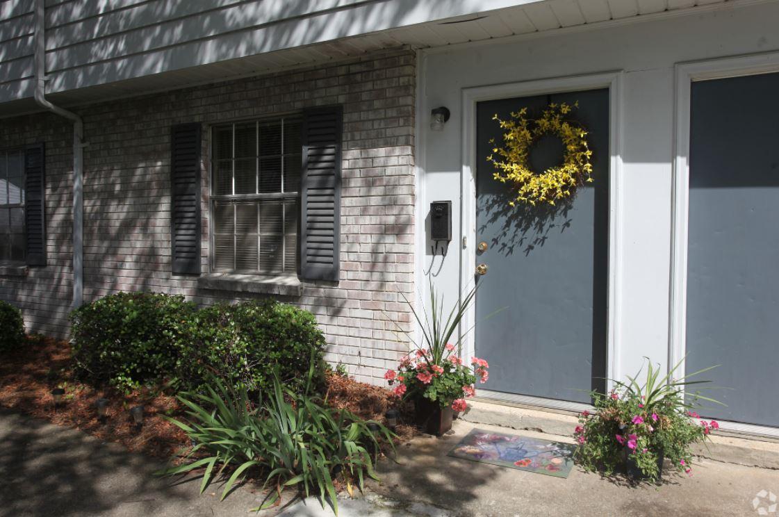 Front Door with Yellow Wreath