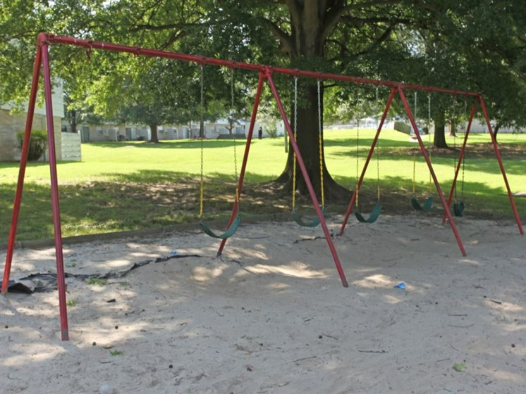 Swing set with shade trees