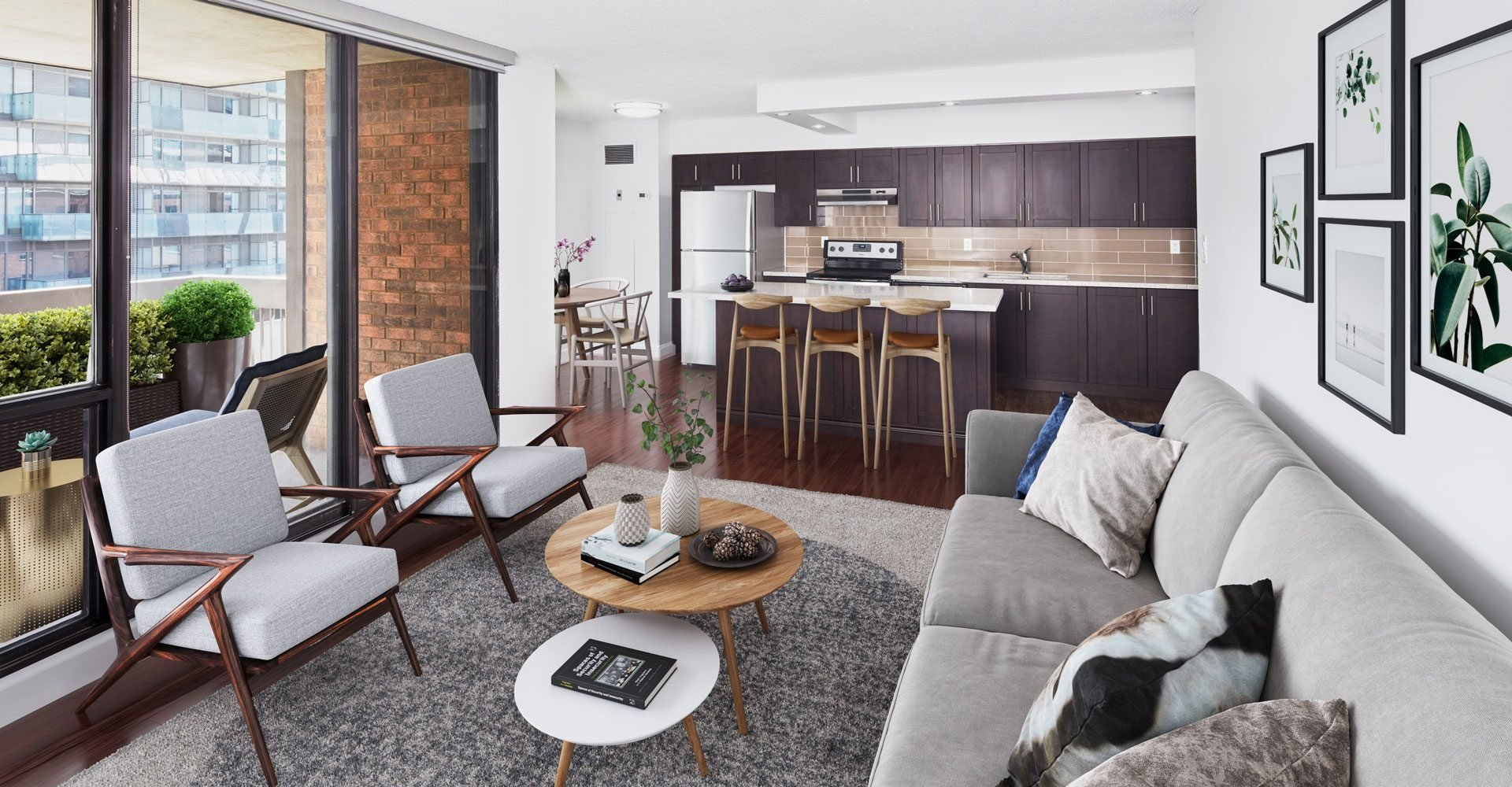 Staged living room with contemporary furniture