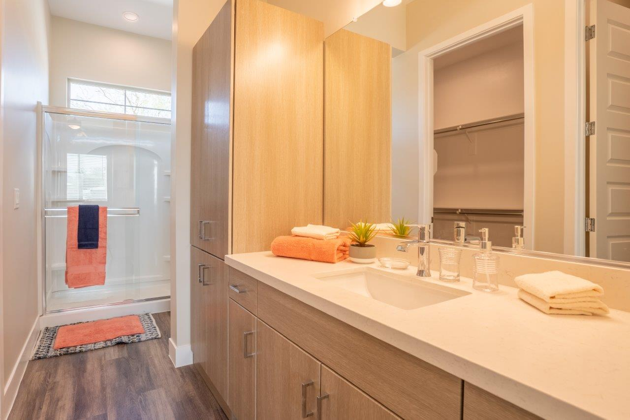 Model bathroom with a walk-in shower and vanity sink with storage in an apartment at Village Greens of Queen Creek