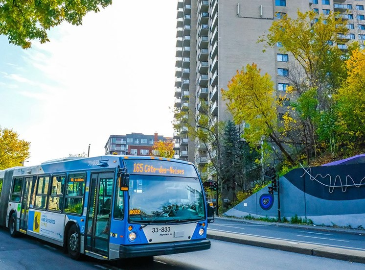Bus Standing outside at Hill Park, Montreal, H3V 1G1
