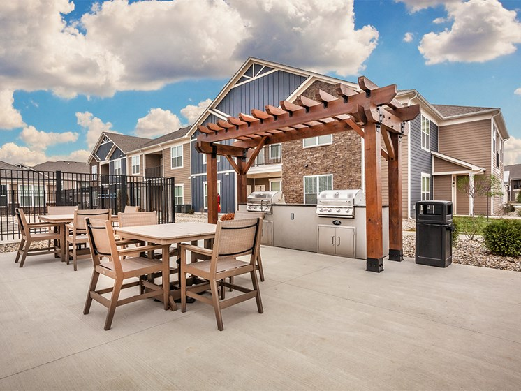 Goshen Apartments for Rent - Park Thirty-Three Apartments BBQ Area with Multiple Grills and Table Seating