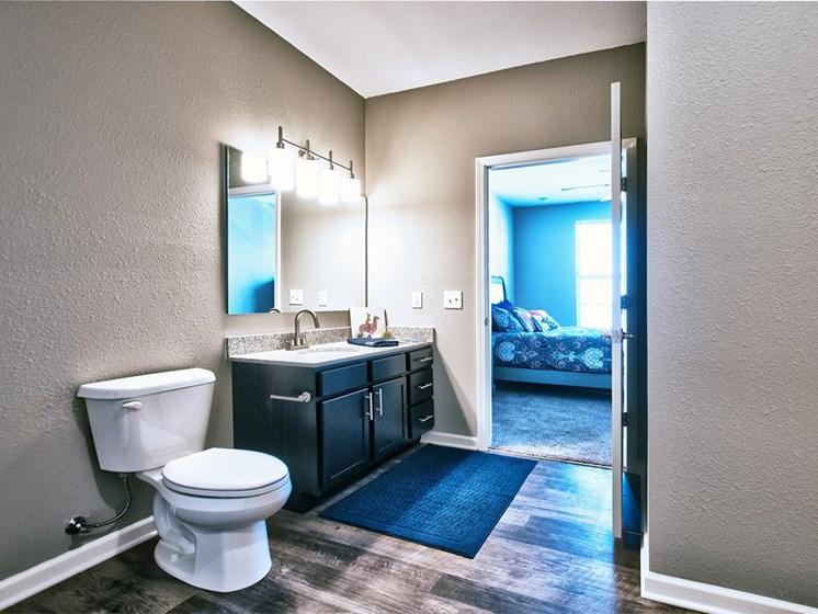 Goshen apartments - apartment bathroom with dark wood vanity