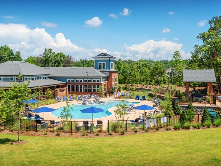 Apartments Greenville - Trailside Verdae Exterior View of Apartments with Aerial View of Pool