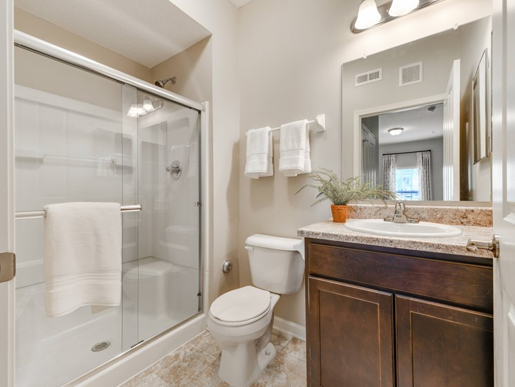 Modern Bathrooms with Showers at Austin Place Apartments