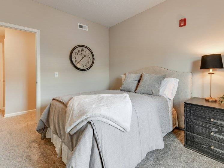 Furnished Carpeted Bedroom At Austin Place Apartments