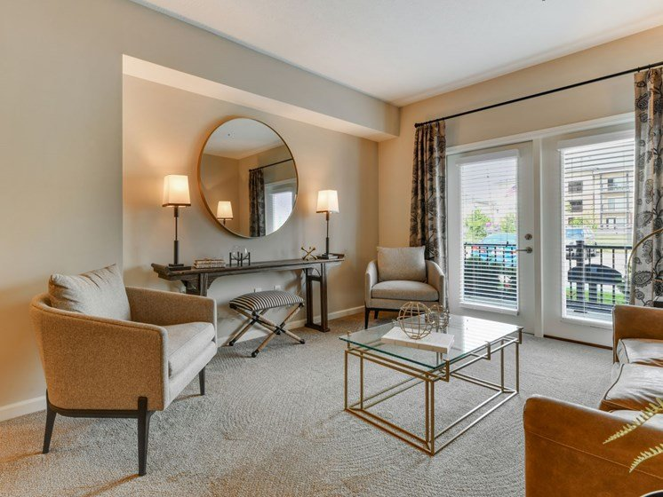 Modern Furnished Living Room at Austin Place Apartments