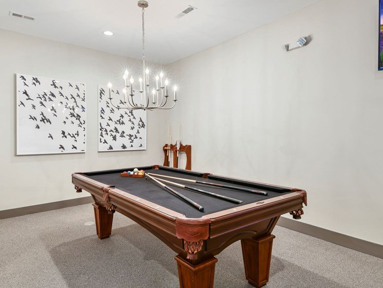 Billiards Table in Clubroom at Austin Place Apartments