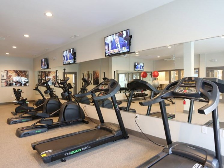 Treadmills in Fitness Center at Austin Place Apartments