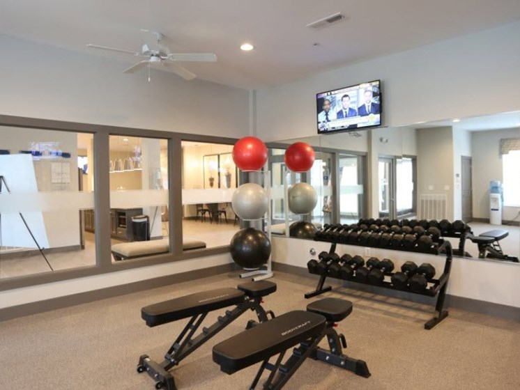 Fitness Center with Free Weights at Austin Place Apartments