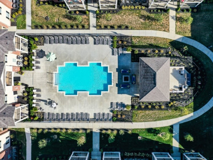 Aerial View of Pool at Austin Place Apartments