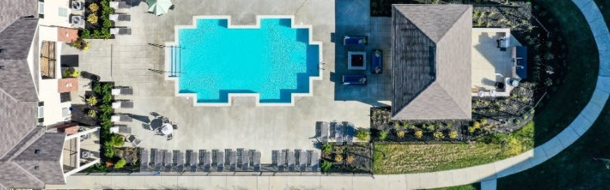 Aerial Shot Of Pool At Austin Place Apartments