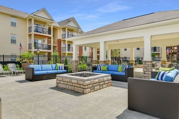 Couch Seating Near Grilling Area at Austin Place Apartments