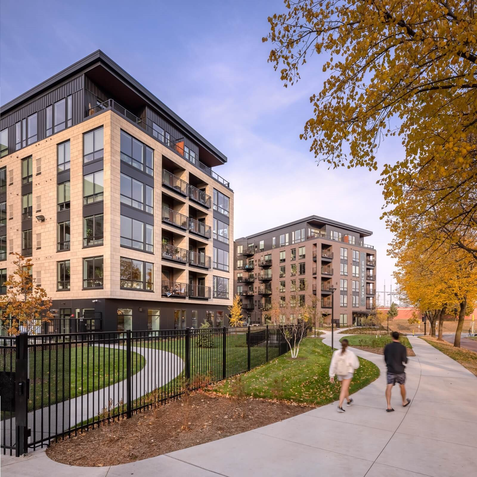 Vesi Apartments at West River Parkway with walking trails