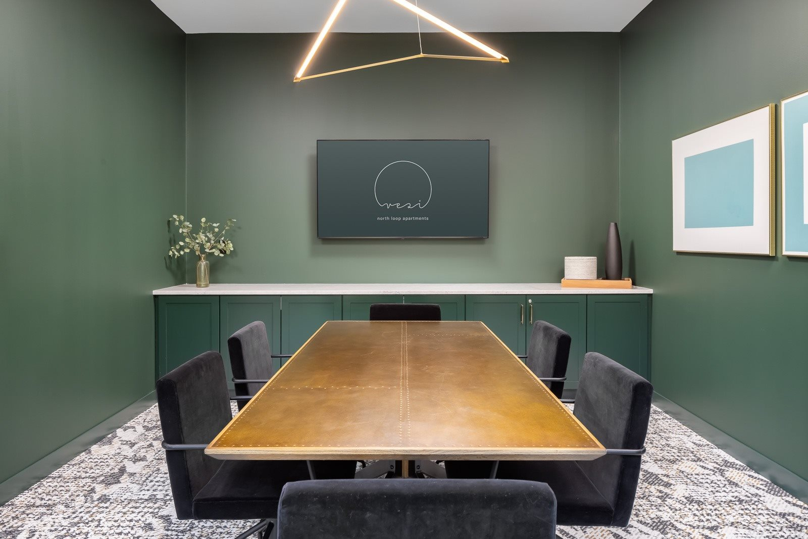 Conference room with HDMI connection ability for apartment residents